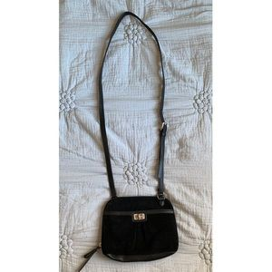 B Makowsky Black Suede Leather Cross Body Bag